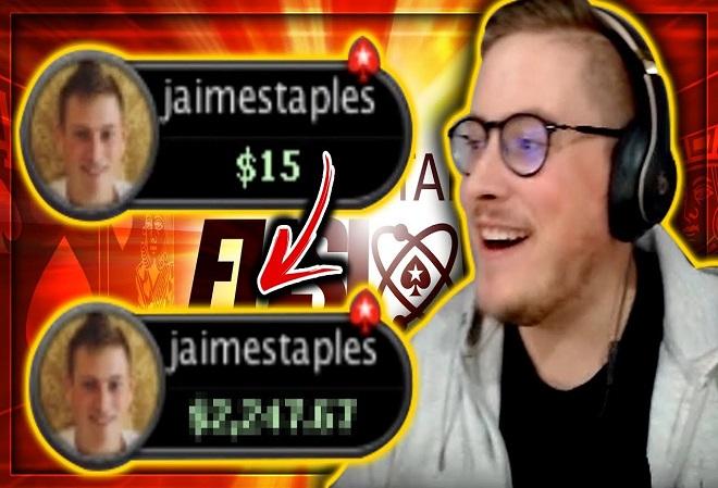 Видео Джейми Стейплс превратил $15 в $1.700, играя в Fusion от PokerStars.