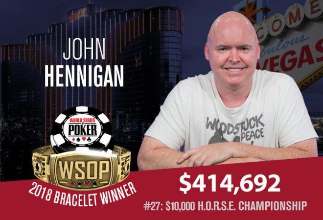 Джон Хенниган возглавил гонку за звание лучшего игрока WSOP в преддверии Главного турнира